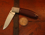 AT BARR EDC with Maroon Linen Micarta Scales and a D2 blade